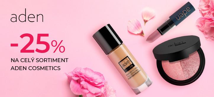 Zľava 25% na celý sortiment Aden Cosmetics. Ceny na stránke sú uvedené so zľavou