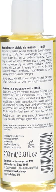 Harmonizujúci masážny olej s ruží - Ava Laboratorium Aromatherapy Massage Harmonizing Massage Oil Rose — Obrázky N2