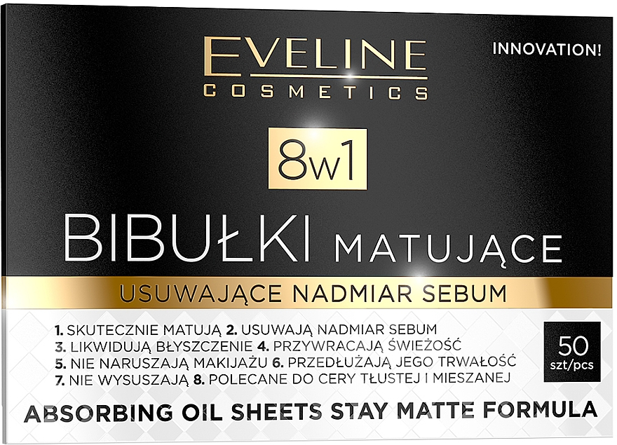 Zmatňujúce obrúsky na tvár - Eveline Cosmetics 8in1