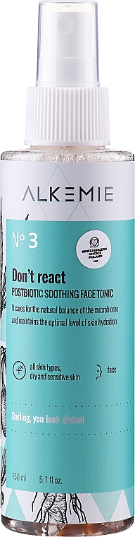 Upokojujúce tonikum na tvár - Alkemie Microbiome Dont React Face Tonic