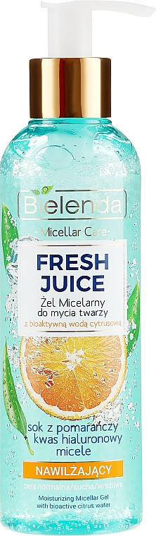 "Hydratačný micelárny gél ""Pomaranč"" - Bielenda Fresh Juice Micellar Gel Orange"
