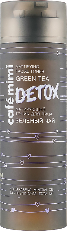 "Zmatňujúce tonikum na tvár ""Zelený čaj"" - Cafe Mimi Detox Mattifying Facial Toner"