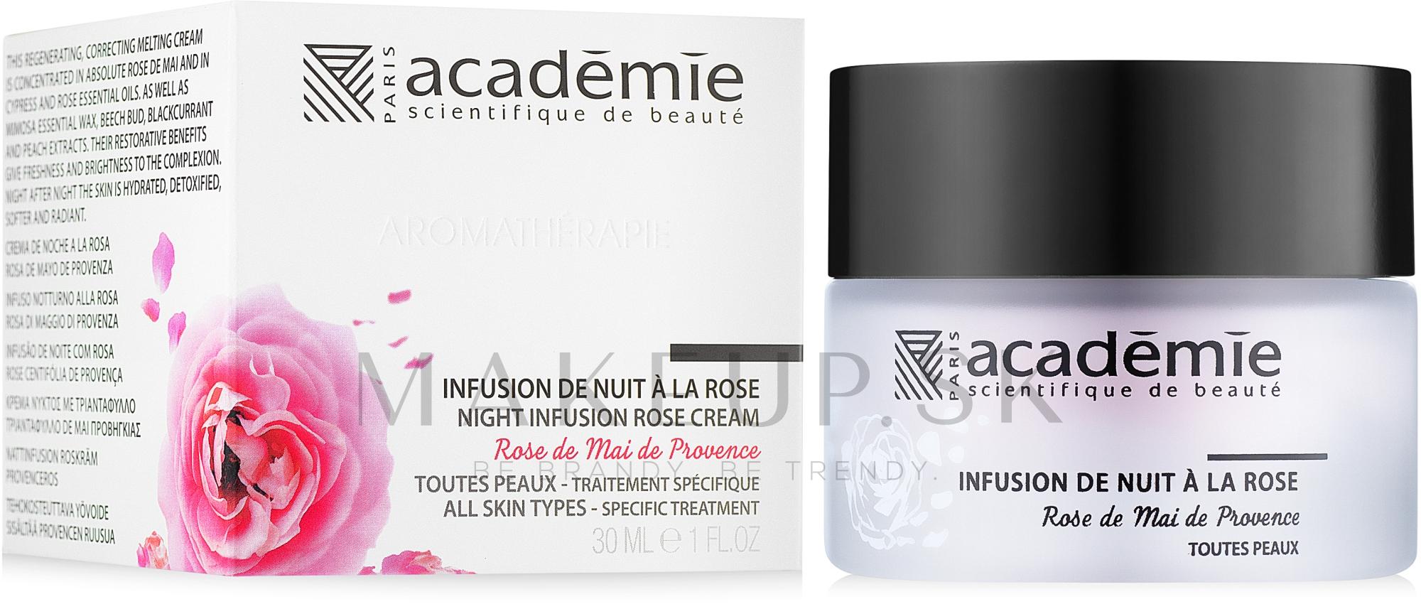 """Nočný obnovujúci krém s ružovým extraktom """"Ružová infúzia"""" - Academie Night Infusion Rose Cream — Obrázky 30 ml"""