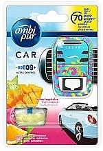 """Voňavky, Parfémy, kozmetika Sada na aromatizáciu auta """"Tropické ovocie"""" - Ambi Pur (freshener/1szt+refill/7ml)"""