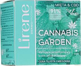 Voňavky, Parfémy, kozmetika Zmatňujúci antibakteriálny krém pre mastnú a zmiešanú pleť s reguláciou tvorby kožného mazu - Lirene Cannabis Garden Mint & CBD
