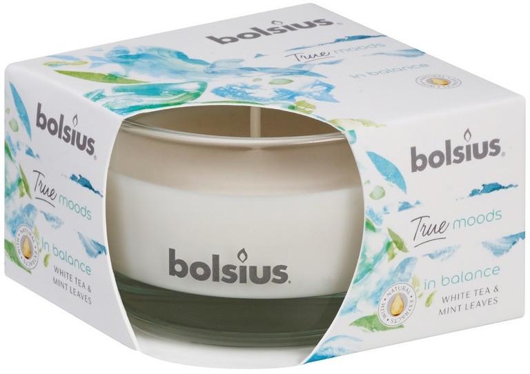 """Vonná sviečka v pohári """"Biely čaj a lístky mäty"""", 50/80 mm - Bolsius True Moods Candle"""