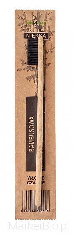 Bambusová zubná kefka, mäkká, čierna - Bio4You