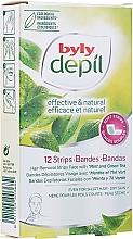 Voňavky, Parfémy, kozmetika Voskové pásky na tvár Mäta a zelený čaj - Byly Depil Mint And Green Tea Hair Removal Strips Face