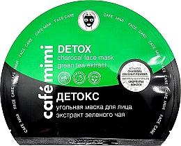 """Voňavky, Parfémy, kozmetika Uhoľná textilná maska na tvár """"Detox"""" - Cafe Mimi Detox Charcoal Face Mask Green Tea Extract"""