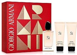 Voňavky, Parfémy, kozmetika Giorgio Armani Si - Sada (edp 100ml + b/l 75ml + sh/g 75ml)