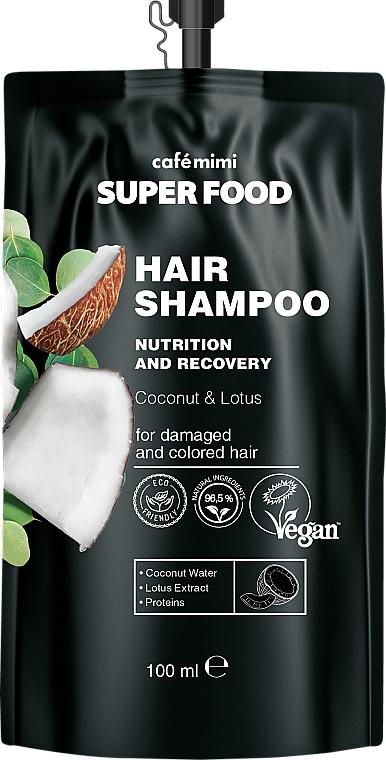 """Šampón pre poškodené a farbené vlasy """"Kokos a lotos"""" - Cafe Mimi Super Food Shampoo"""