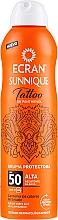 Voňavky, Parfémy, kozmetika Sprej po opaľovaní - Ecran Sunnique Tattoo Protective Mist SPF50