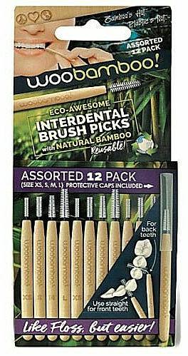 Sada medzizubných kefiek, 12 ks. - Woobamboo Toothbrush Interdental Brush Picks Assorted