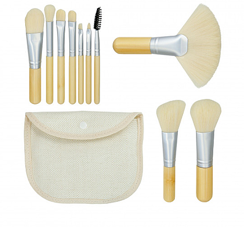 "Sada štetcov na makeup ""Bamboo White"" 10ks + taštička - Tools For Beauty"