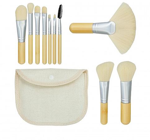 "Sada štetcov na makeup ""Bamboo White"" 10ks + taštička - Tools For Beauty"