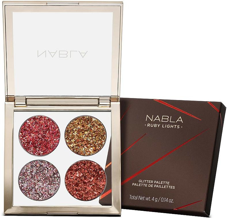 Paleta očných tieňov - Nabla Ruby Lights Collection Glitter Palette