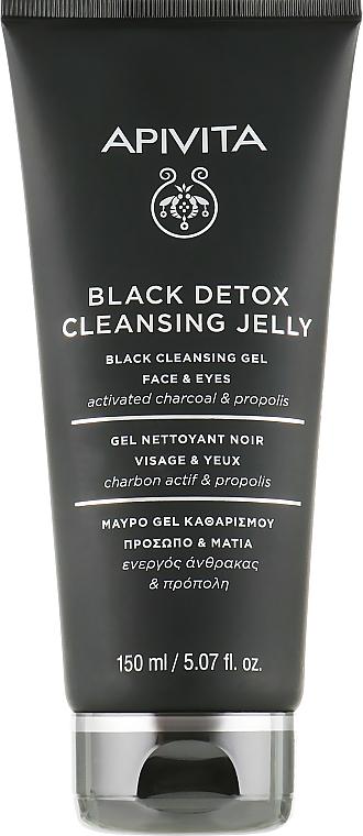 Čierny čistiaci gél na tvár a oči - Apivita Black Detox Cleansing Jelly