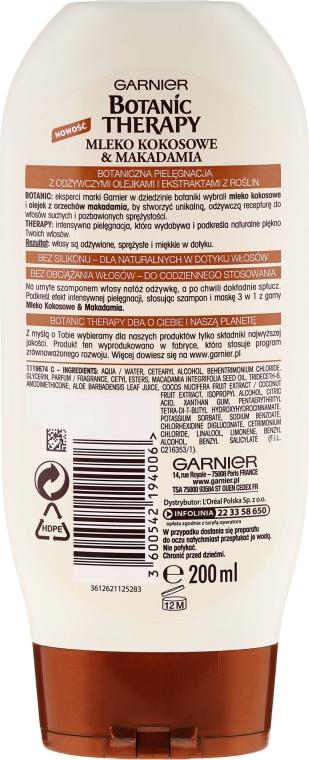Balzam-kondicionér pre výživu a jemnosť vlasov - Garnier Botanic Therapy Coconut Milk & Makadamia Conditioner — Obrázky N2