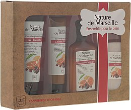 "Voňavky, Parfémy, kozmetika Sada ""Pomaranč a brusnice"" - Nature de Marseille (lot/150ml + sh/gel/100ml + h/cr/60ml + soap/90g)"