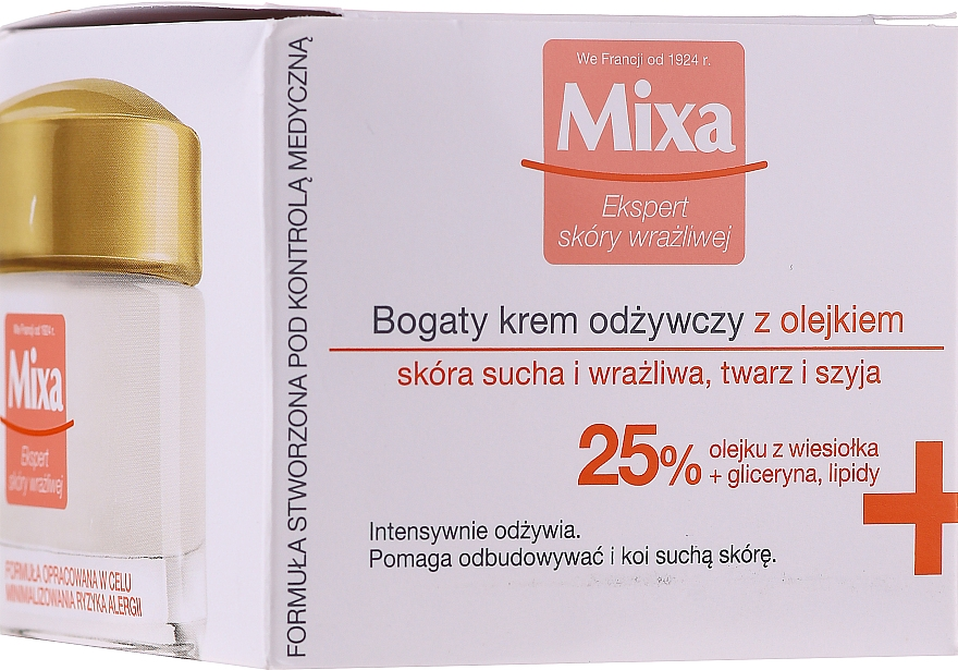 Vyživný krém na upokojenie pleti - Mixa Sensitive Skin Expert Rich Nourishing Cream