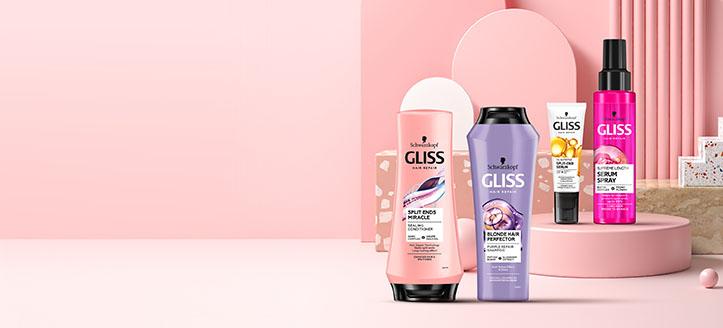 Zľava 25% na vybraný sortiment prípravkov starostlivosti o vlasy Gliss. Ceny na stránke sú uvedené so zľavou