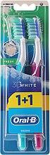 Voňavky, Parfémy, kozmetika Sada zubných kefiek, 40 stredne tvrdá, tyrkysová + ružová - Oral-B 3D White Fresh 40 Medium 1+1