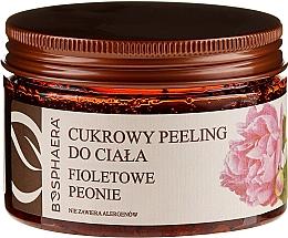 """Voňavky, Parfémy, kozmetika Cukrový peeling na telo """"Fialové pivonky"""" - Bosphaera"""