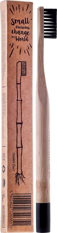 Bambusová kefka na zuby, stredne tvrdá, s čiernymi štetinami - Mohani Toothbrush