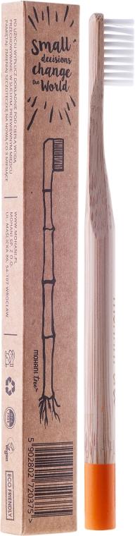 Bambusová zubná kefka, mäkká, oranžová - Mohani Toothbrush