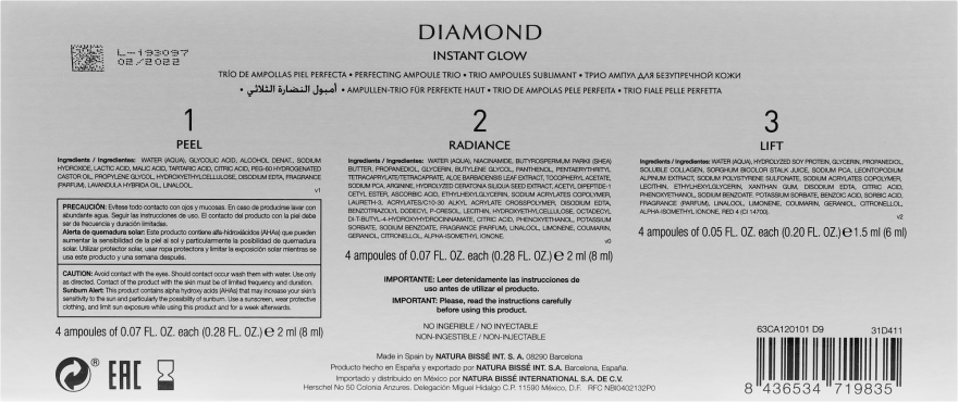 Flash ampulky pre žiarivosť pokožky - Natura Bisse Diamond Instant Glow Express Mini-Lift — Obrázky N3