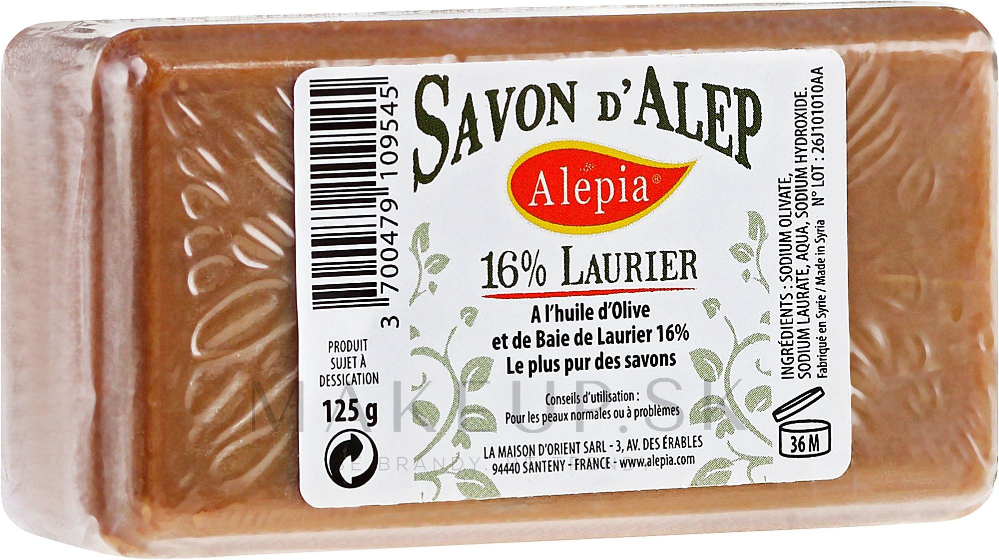 Mydlo s vavrínovým olejom, 16% - Alepia Soap 16% Laurel — Obrázky 125 g