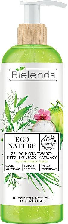 Čistiaci gél na tvár - Bielenda Eco Nature Coconut Water Green Tea & Lemongrass Detox & Mattifyng Face Wash Gel