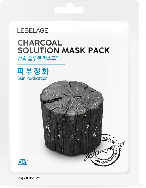 "Textilná maska na tvár ""Drevené uhlie"" - Lebelage Charcoal Solution Mask"