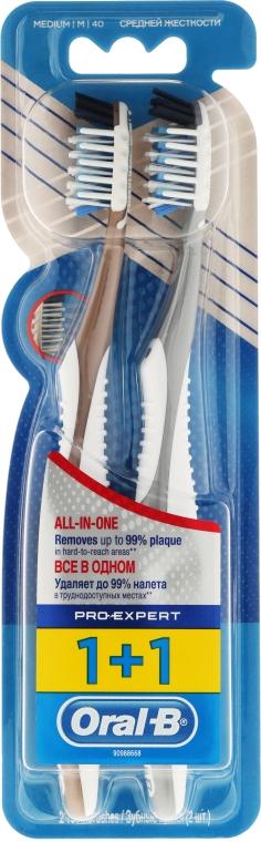 """Sada zubných kefiek """"Extra čistenie. Všetko v jednom"""", 40 strednej tvrdosti, šedá + zlatá - Oral-B Pro-Expert CrossAction All in One — Obrázky N1"""
