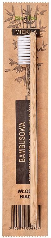 Bambusová zubná kefka, mäkká, biela - Bio4You