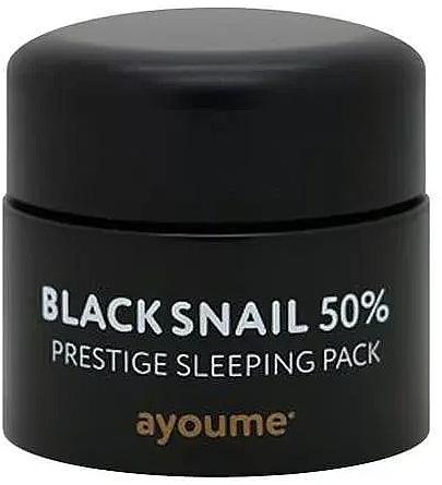 Anti-aging bezoplachová maska na noc s čiernym slimačím mucínom - Ayoume Black Snail Prestige Sleeping Pack