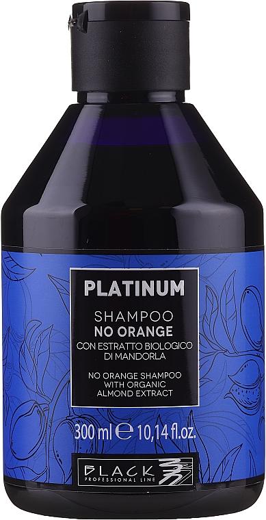 Šampón s rastlinným extraktom z mandlí na neutralizáciu oranžových a medených odtieňov - Black Professional Line Platinum No Orange Shampoo With Organic Almond Extract