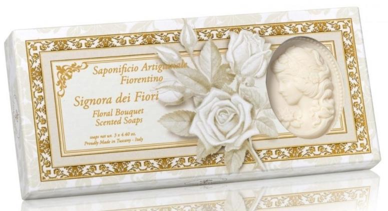 """Sada prírodného mydla v tvare dámy """"Kvetinová kytica"""" - Saponificio Artigianale Floral Bouquet Soap (soap/3pcsx125g)"""