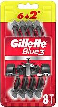 Voňavky, Parfémy, kozmetika Sada jednorazových holiacich strojčekov, 6 + 2ks - Gillette Blue3 Nitro