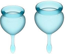 Voňavky, Parfémy, kozmetika Sada menštruačných kalíškov so stopkou v tvare kvapky, svetlomodrá - Satisfyer Feel Good Menstrual Cup Light Blue