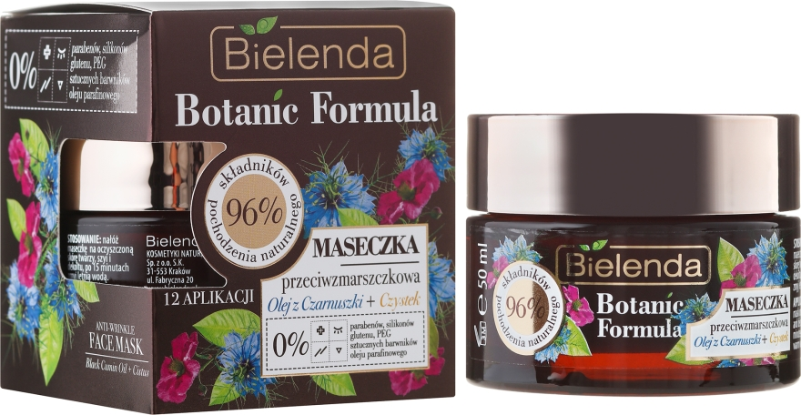 Maska na tvár - Bielenda Botanic Formula Black Seed Oil + Cistus Anti-Wrinkle Face Mask