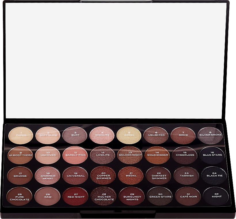 Paleta tieňov na viečka, 32 odtieňov - Makeup Revolution Ultra 32 Shade Palette Flawless