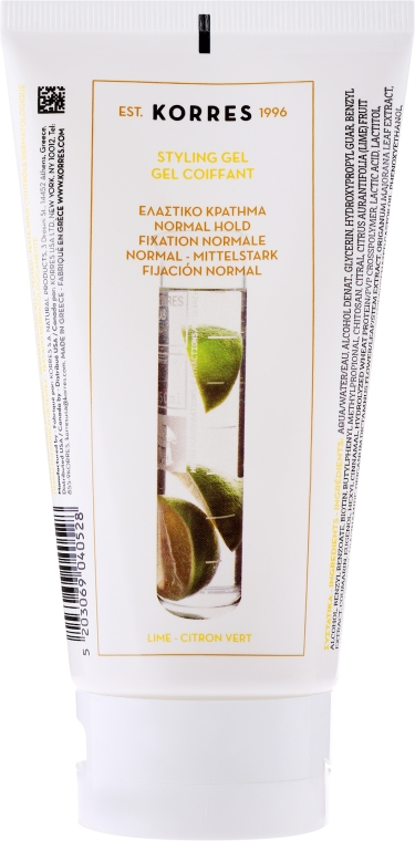 Gél na vlasy - Korres Styling Gel Normal Hold With Lime