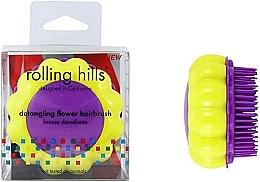 """Voňavky, Parfémy, kozmetika Kompaktná kefa na vlasy """"Harmanček"""", žltá / fialová - Rolling Hills Brosse Desenredar Flower"""