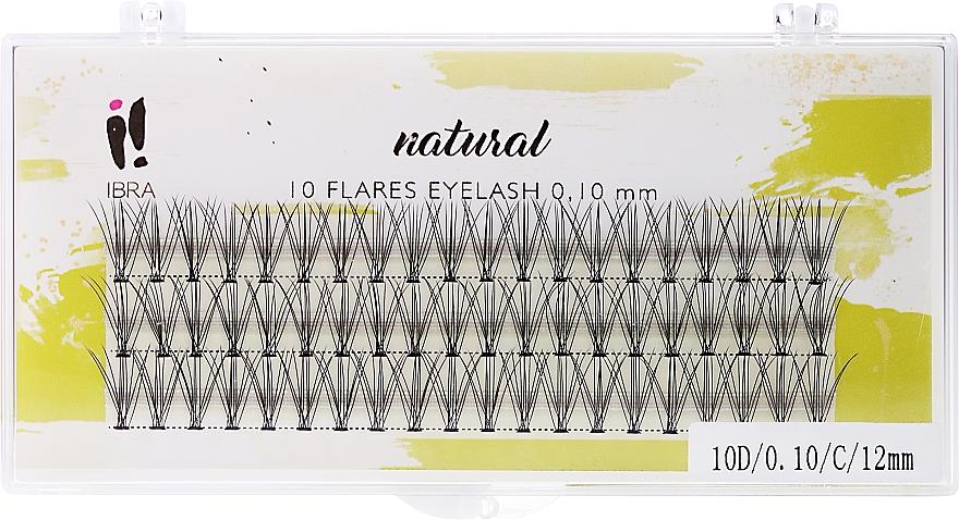 Falošné mihalnice, C 12 mm - Ibra 10 Flares Eyelash Knot Free Naturals
