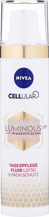 Denný fluid proti proti pigmentovým škvrnám SPF 50 - Nivea Cellular Luminous 630 Anti-Pigmentflecken Tagespflege Fluid
