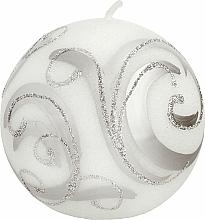 Voňavky, Parfémy, kozmetika Dekoratívna sviečka, guľa, biela so vzorom, 8 cm - Artman Christmas Ornament