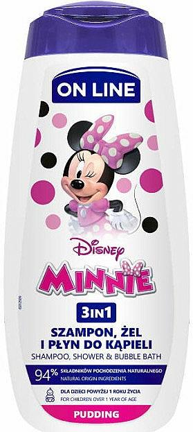 Sprchový gél, šampón a pena do kúpeľa 3 v 1 s pudingovou vôňou - On Line Kids Disney Minnie