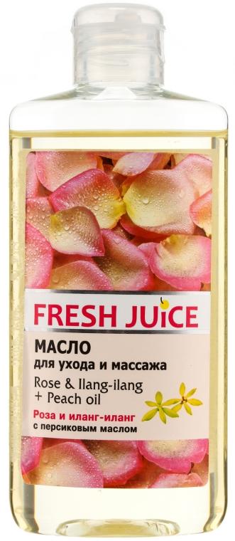 """Olej na starostlivosť a masáž """"Ruža a Ylang-Ylang+Broskýňový olej"""" - Fresh Juice Energy Rose&Ilang-Ilang+Peach Oil"""