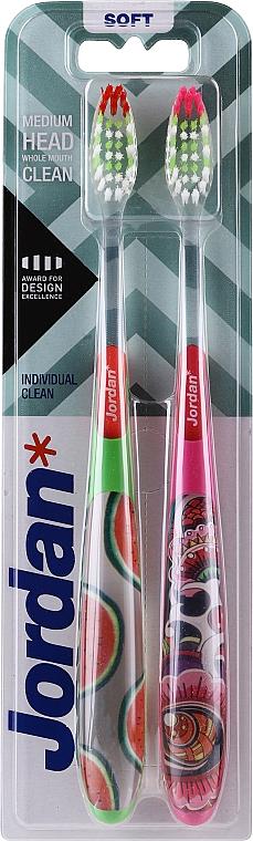 Zubná kefka Individual Clean, mäkká,zelená s melónmi + ružová so vzorom - Jordan Individual Clean Soft